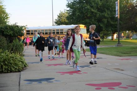 students at Prairie Vista Elementary on the 1st Day of School