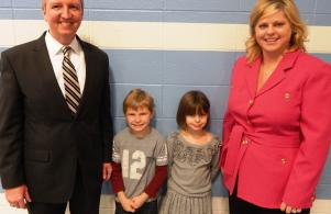 Ms Twibell and Superintendent Jerry Thacker stops by to visit with students.