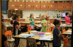 First graders saying the Pledge of Allegiance