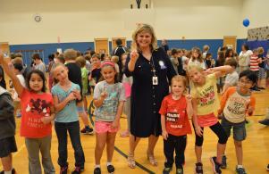 Celebrating the National Blue Ribbon School award. Way to go Pumas!