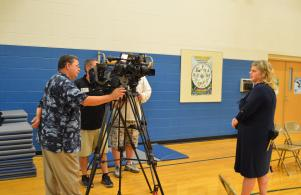 TV stations were on hand to cover the Blue Ribbon announcement