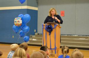All-school assembly to announce the National Blue Ribbon School award